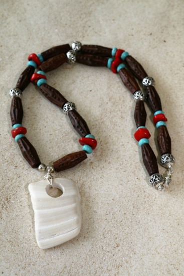 Tribal vibe wood, turquoise and red coral necklace w white shell fragment pendant, 18""