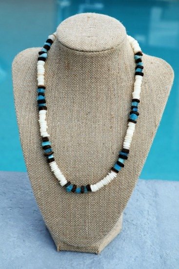 Vintage-style surfer NECKLACE - heishi shell, coconut and blue glass beads, 18 in., barrel clasp