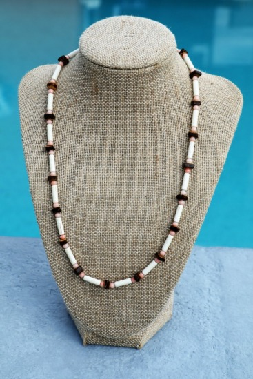 Vintage-style surfer NECKLACE - white malachite, pink coral and coconut beads, barrel clasp 18""