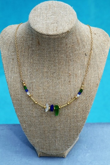 Seaglass NECKLACE - cobalt blue, kelly green, white seaglass chips, Swarovski crystals on gold-filled chain, gold lobster clasp - 17.5""
