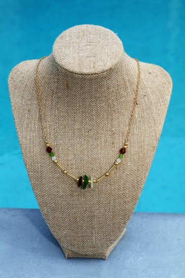 Seaglass NECKLACE - Kelly green, amber and white seaglass chips, Swarovski crystals on gold-filled chain, gold lobster clasp - 17.5""