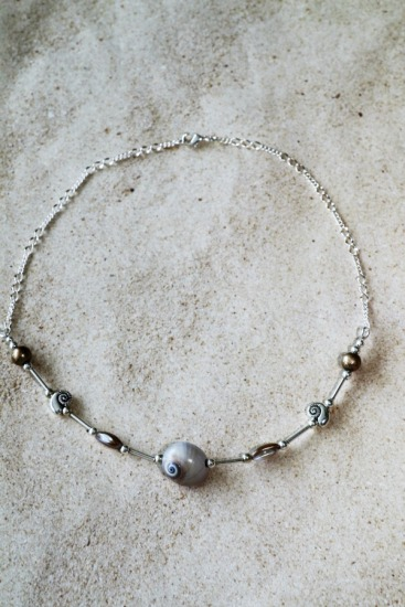 Irridescent fossil ammonite, Mother of Pearl and silver plated nautilus NECKLACE on sterling link chain, 18""