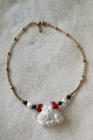 Barnacle-encrusted ark shell pendant statement necklace, red coral chips, coin pearls, gold spacers, 17.5""