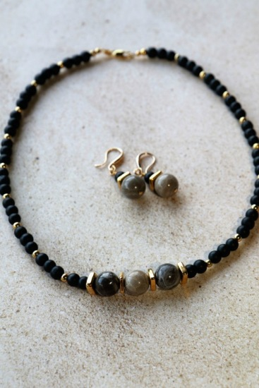 "Matte black onyx and fossilized coral NECKLACE, TierraCast spacers, GF lobster clasp, 18"", GF with matching EARRINGS on GF earwires"