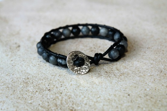 Black leather ladder BRACELET with black network stone, TierraCast silver button closure - 7""