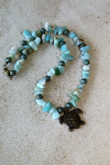 Amazonite chips and verdi gris lantern beaded NECKLACE, Mykonos brass sea turtle pendant, brass lobster clasp, 18""