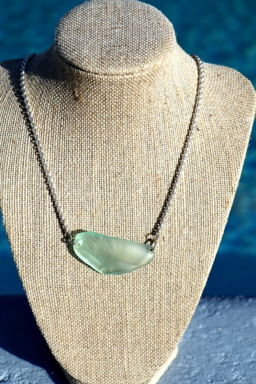 Seafoam seaglass statement piece on heavy sterling rolo chain, sterling lobster clasp 18""