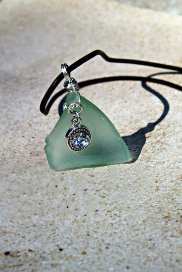 "vaseline color seaglass pendant with Swarovski CZ crystal (1.5""L) on 18"" black leather cord"