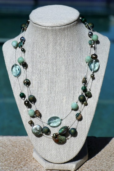 Summer Surf floating necklace - triple-strand coin pearls, malachite, amazonite, clear quartz bijoux on silverplate wire - 19""
