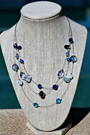 "Sea & Sky floating NECKLACE - triple-strand of Swarovski crystals and opalite stones on sterling beadwire - 18"" adjustable"