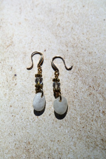 White polished beach quartz drop EARRINGS with clear Swarovski crystals on GF earwires