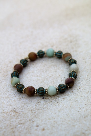 Amazonite and verdi gris brass bead BRACELET  - 6""