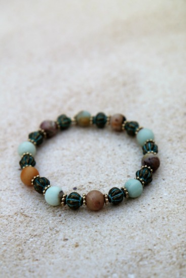 8mm Amazonite and verdi gris brass stretch BRACELET - 7""