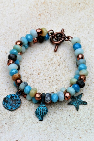 Rustic beachy BRACELET - double-strand semiprecious stones and copper with verdi gris Mykonos charms, brass toggle clasp - 7""