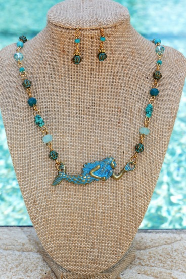 "Mermaid necklace - turquoise chips, chrysoprase rondelles, crystals and verdi gris lantern beads, all linked on GF wire - 18"", matching earrings on GF fishhook earwires"