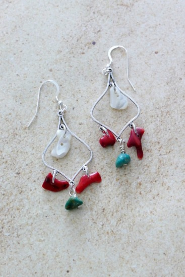 Boho turquoise chips, red coral and mother of pearl shell chip chandelier earrings on silver wire, sterling fishhook earwires
