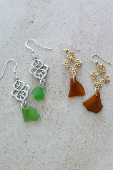 Boho-style dangle earrings - kelly green seaglass on silver, amber seaglass on gold - sterling and GF fishhook earwires.  Priced separately