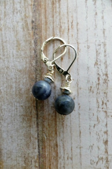 Sodalite drop EARRINGS on sterling leverback earwires
