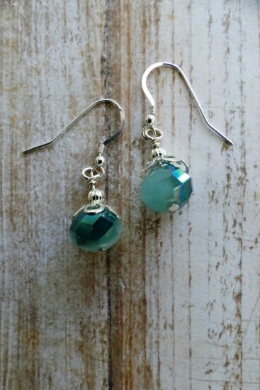 Sparkly aquamarine-colored faceted Czech crystal drop earrings on sterling fishhook earwires