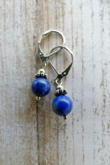 Lapis Lazuli drop EARRINGS on sterling leverback earwires