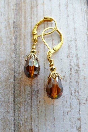 Amber teardrop-shaped faceted Swarovski crystal drop EARRINGS on GF leverback earwires