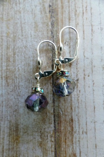 Sparkly irridescent rainbow-colored faceted Swarovski crystal drop EARRINGS, sterling leverback