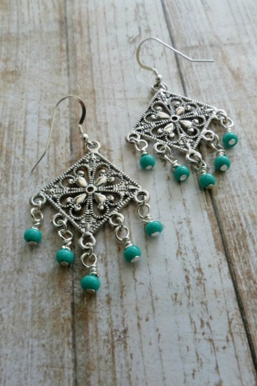 Boho-style chandelier earrings - silver with turquoise seed bead on sterling fishhook earwires