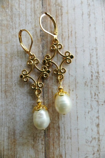 Boho-style drop earrings - white freshwater barrel pearl, vermeil scrollwork pendant, GF leverback earwires
