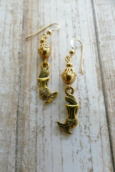 Champagned-colored cultured pearl and gold vermeil mermaid drop EARRINGS on GF fishhook earwires