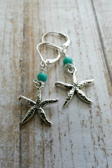 Sterling starfish with turquoise seed bead dangle EARRINGS on sterling leverback earwires