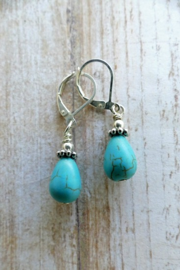 Turquoise howlite - teardrop-shaped drop earrings on sterling leverback earwires