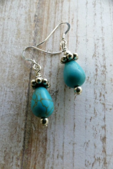 Turquoise howlite - teardrop-shaped drop EARRINGS on sterling fishhook earwires