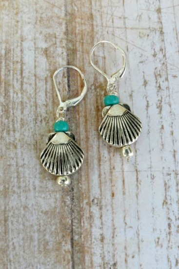 Silver scallop shell dangle EARRINGS with turquoise seed bead on sterling leverback earwires