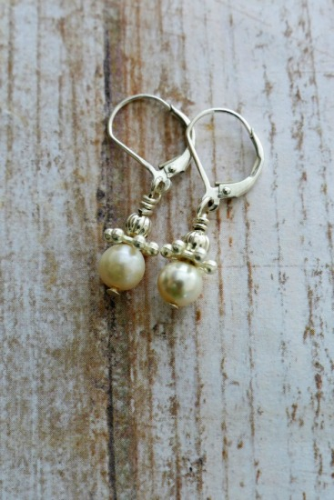 Dainty cultured pearl drop EARRINGS on sterling leverback earwires