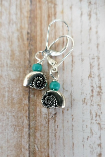 Silver nautilus shell and turquoise seed bead EARRINGS on sterling leverback earwires