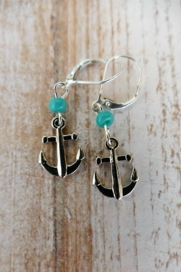Silver anchor EARRINGS with turquoise seed bead on sterling leverback earwires