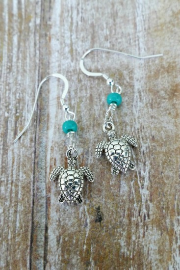 Silver sea turtle EARRINGS with turquoise seed bead on sterling leverback earwires