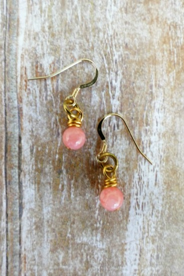Dainty pink coral drop EARRINGS on GF fishhook earwires