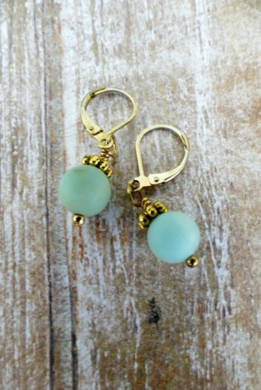 Amazonite drop EARRINGS on GF leverback earwires