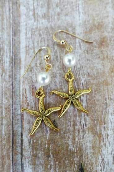 Gold starfish drop EARRINGS with white cultured pearl on GF fishhook earwires