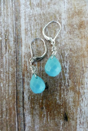 Faceted teardrop Larimar EARRINGS on sterling silver leverback earwires
