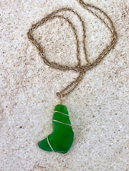 Kelly Green seaglass pendant NECKLACE, wire-wrapped in GF wire, long gold chain