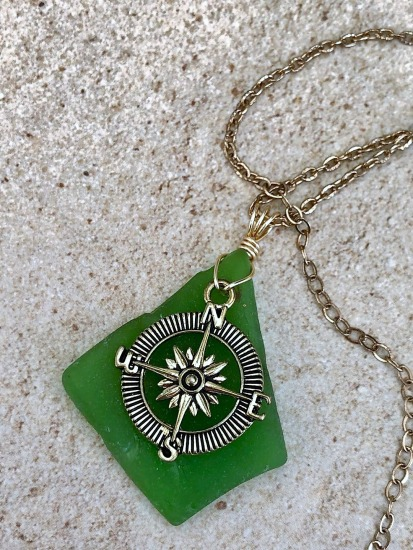 Kelly Green seaglass with gold compass charm pendant NECKLACE, wire wrapped in GF wire, gold chain or leather cord