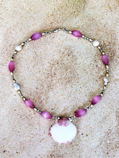 White and pink scallop shell on beaded choker NECKLACE - pink glass, silver, coin pearls, silver lobster clasp - 16""