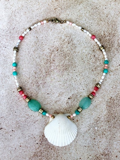 White scallop shell on pastel bead and freshwater pearl choker NECKLACE, gold lobster clasp - 16""