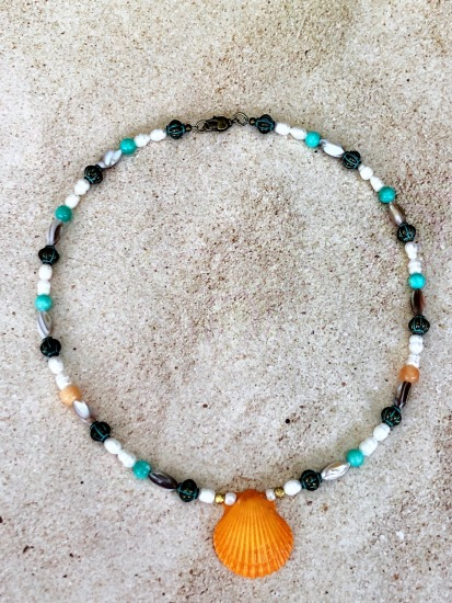 Tangerine-colored scallop shell on beaded choker NECKLACE- verdi gris brass, mother-of-pearl, freshwater pearl and turquoise glass beads, brass lobster clasp - 16""