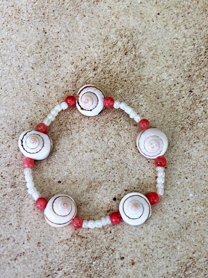 Shell ANKLET - delicate pink conus shell tops on stretch cord, coral and pearl seed beads - 9""