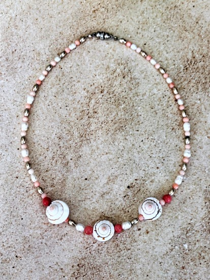 Freshwater pearl, coral and pink cone shell choker NECKLACE with silver lobster clasp, 16""