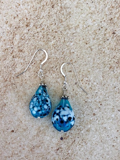 "Aqua handmade lampwork bead dangle EARRINGS on sterling fishhook earwires - 1"" drop"
