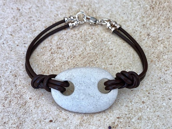 Rustic white Beach Stone BRACELET on dark brown round leather knotted straps, silver lobster clasp